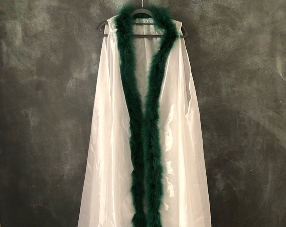 1990's White Iridescent Sheer Polyester Chiffon Robe Duster Swing Cape with Forest Green Marabou Feather Trim Boudoir Loungewear