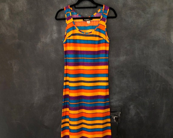1970's Striped Maxi Tank Long Dress Acrylic Knit Body Con Darted Hippy Hippie Boho Bohemian Woodstock Ladies XS/S/M