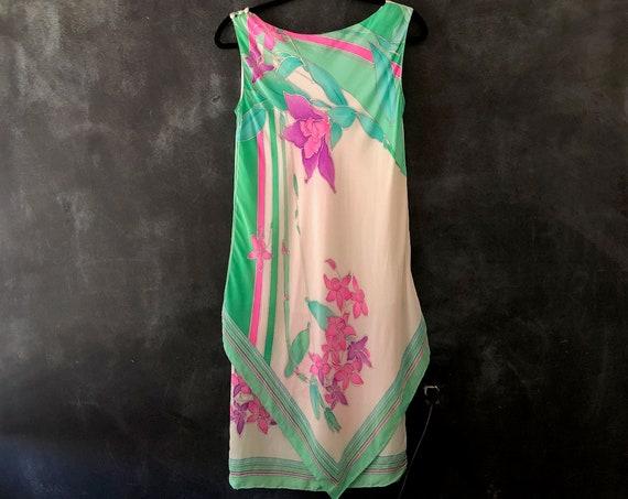 1970's 80's Scarf Print Dress Floral Pastel Mint Green Pink Shift Dress Midi Sleeveless Scarf Hem Ladies XS/S/M