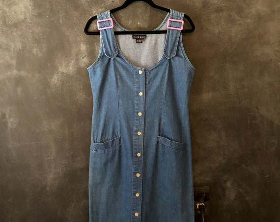 1990's Blue Denim Jean Maxi Dress Fitted Minimal Minimalist Modern Modernist Heritage Southwestern Western Americana Ladies S/M