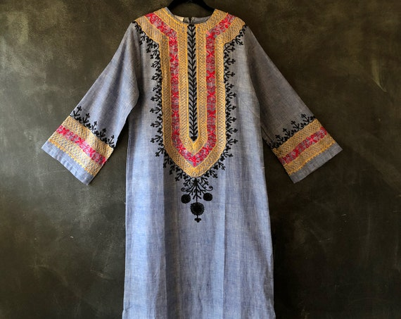 SALE 1970's Blue Chambray Embroidered Kaftan Maxi Dress Long Sleeves Deadstock Never Been Worn Hippie Hippy Boho Bohemian Size M/L
