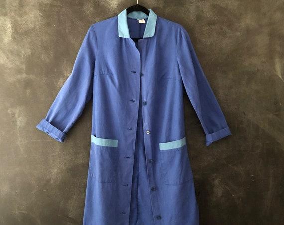 1950's Work Wear Indigo Baby Blue Long Chore Jacket Distressed Cotton Jacket Duster Sun Kissed Cropped Boxy Hippy Boho Heritage Oversized