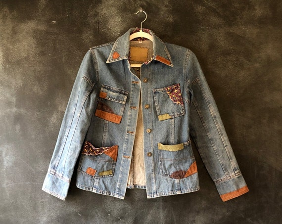 SALE 1970's Inspired Patchwork Light Denim Chore Barn Jacket Hippy Boho Hippie Bohemian Woodstock Fitted Ladies Size Xs/S