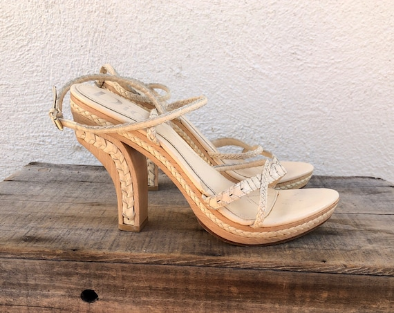 1990's Christian Dior Minimal Wooden Heel Braided Leather Ankle Strap Inverted Heel Platforms High Fashion Italian Ladies size 39 US 9
