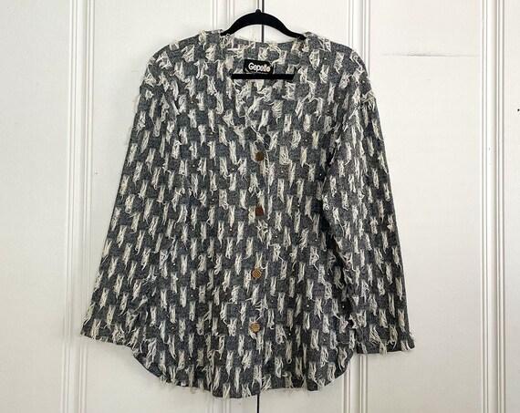 1980s Fringe Tunic Jacket Blazer Wearable Art Fiber Art Fringe Boho Bohemian Hippy Gold Studded Size Small