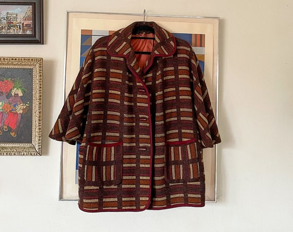1970's Brown Striped  Wool Cape Caplet Poncho Hippie Hippy Bohemian Duster South Western Size M/L