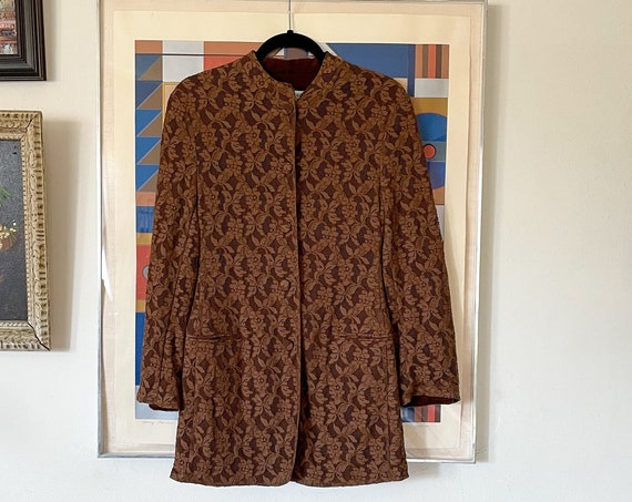 90's Giorgio Armani Brown Floral Lace Mesh Overlay Blazer Boho Hipi Bohemian Duster Made In Italy Size XS/S