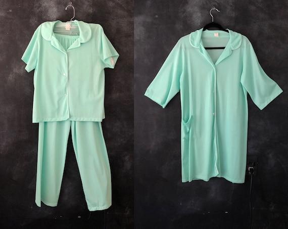 SALE 1960's Mint Green Nylon 3 pieces Pajama Set Shear Top Pants Robe Loungewear Boudoir Beach Coverup Sleepwear Ladies S/M/L