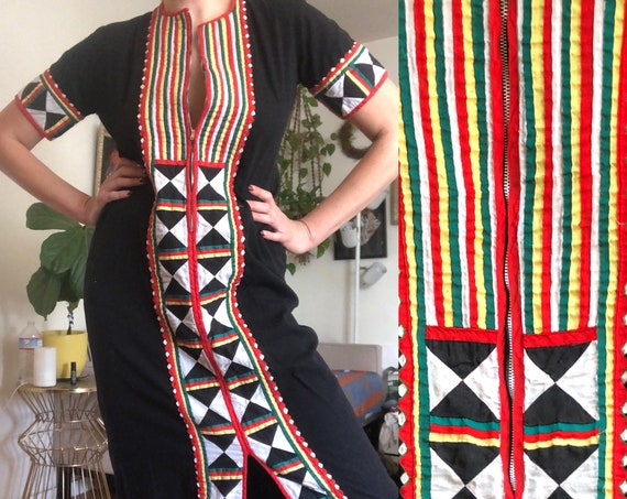 1970's Black Quilted Native American Seminole Cotton Maxi Dress Handmade Ceremonial Navajo Boho Hippy Bohemian Hippie Dress XS S M