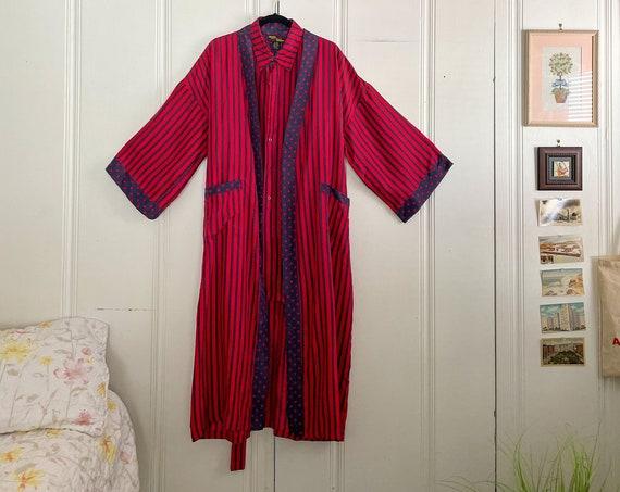 1980's Silk Sleepwear Set Robe Duster Red and Blue Stripes with Polka Dot Details Tunic Loungewear Boho Hippie Size L/XL