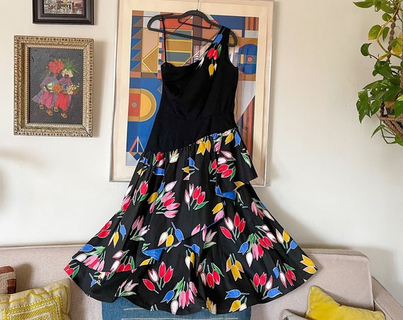 1980's Victor Costa Rare Black Floral Tulip Tiered Ruffled Circle Dress One Shoulder Hippie Boho Bohemian Size M