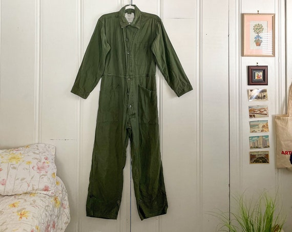 1980s Coveralls Romper Onesie Boiler Suit High Waisted Onesie Cotton Army Green Americana Boho Size Small