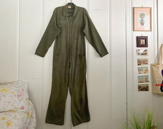 1980s German Coveralls Romper Onesie Boiler Suit High Waisted Onesie Cotton Army Green Americana Boho Size Small
