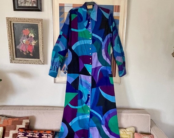 1960's 70's Ken Scott Shirt Long Dress Bold Print Blue Purple Green Geometric Print Max Psychedelic Hippy Hippie Boho Bohemian Ladies XS/S/M