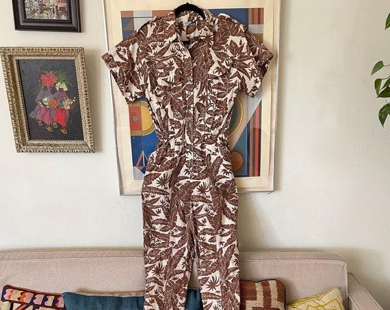 80's Beige and Brown Tropical Cotton Jumpsuit Romper Onesie Tropical Short Sleeve Hipster Boho Bohemian Hippie Flight Suit Ladies S/M