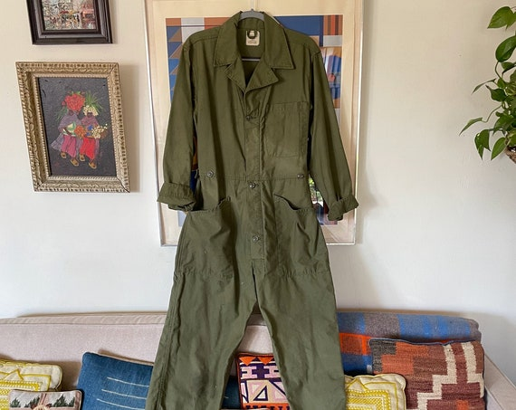 50s Military Mechanic Coveralls Jumper Onesie Overalls Boho Hippe Americana Heritage Workwear Size M /33 waist
