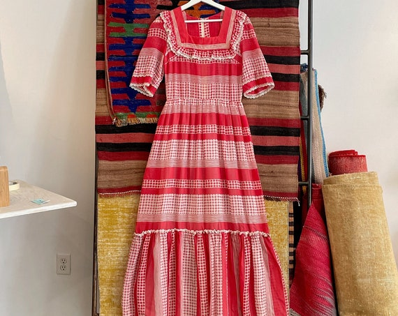 1970's 70's Red White Polka Dots Striped Long Maxi Dress Ruffles Lace Boho Bohemian Hippe Hippie Woodstock Prairie Size 27/28 Waist