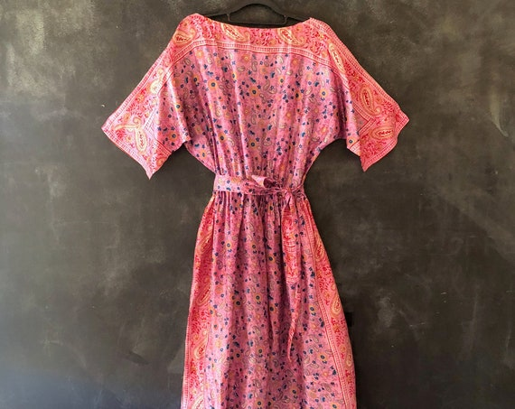 1970's Pink and Purple Floral Indian Block Print Silk Midi Cinched Waist Dress Short Sleeve Hippy Hippie Boho Bohemian All Sizes