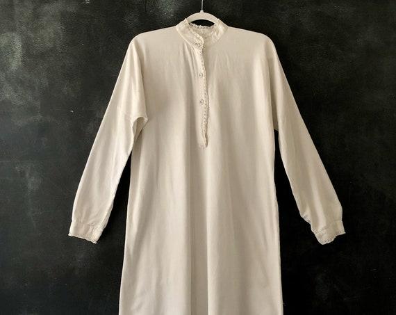 40's White French Woven Cotton Sleep Shirt Night Gown Tunic Lace Trim Cuffs Mini Dress Sleepwear Loungewear Boudoir Crotchet Lace  S/M/L