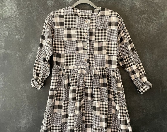 1980's 90's Cotton Quilted Black White Midi Checkered Babydoll Long Sleeve Cottage Core Americana Heritage Boho Hippie XS/S/M