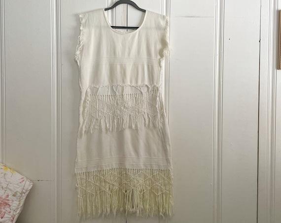 1980's White Cotton Fringe Dress Tassels Boho Hippy Bohemian Country Rocker Western Dress Size M/L