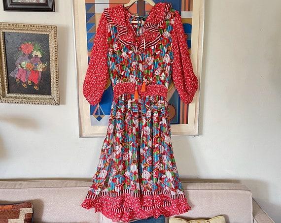 80s Vintage Diane Freis Georgette Dress Red Color Block Ruffle Semi Sheer Puffed Sleeves Floral Elastic Waist Gypsy Midi Dress OSFM