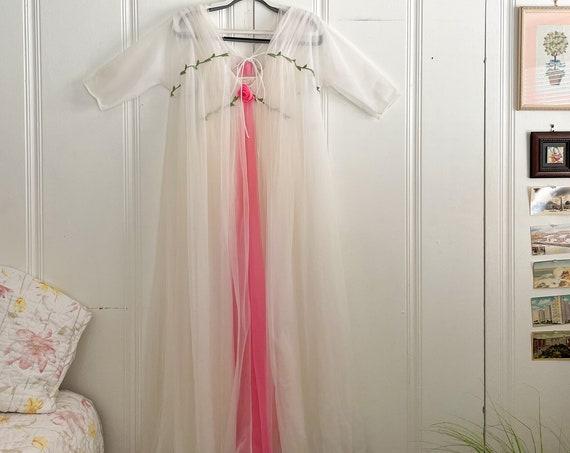 1960's 2 Piece White Peignoir Dress & Robe Set Gotham Lingerie Set Whimsical Loungewear Wedding Nightgown Sheer Pink Rose Vine Detail  S/M