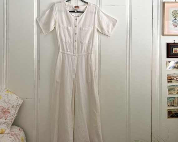 1980's Banana Republic Dress White Cotton Short Sleeve Maxi Boho Prairie Country Preppy Shirt Dress Size M
