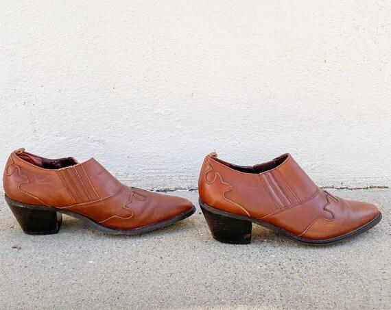 1980's 90's Ankle Chelsea Boots Booties Brown Hippy Hippie Boho Winklepickers Western Cowboy Southwestern Rocker Size 8.5