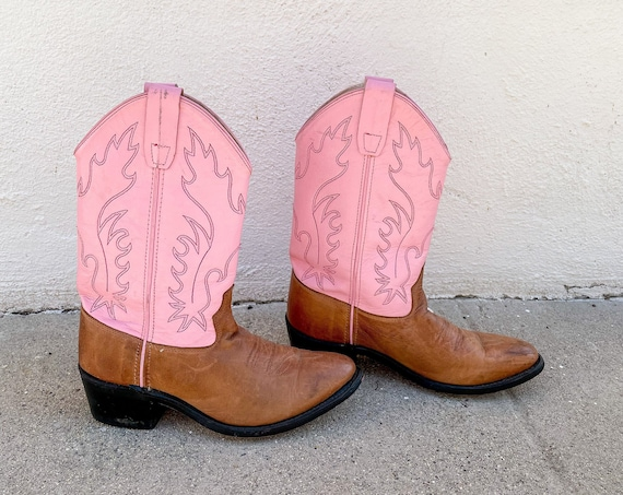 1980's 90's Pink Brown Cowboy Boots Western Cowgirl Hippie Hippy Bohemian Rocker Size 6/6.5