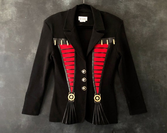 90's Lycra Black Red Military Inspired Blazer Padded Blazer Ornate Gold Medallions Padded Shoulders Stretchy Jacket by Icing M/L