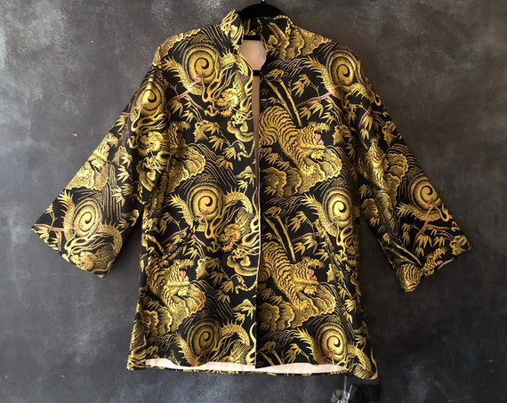 1950's 60's Chinese Mandarin Jacket Satin Black Gold Embroidered Dragons and Tigers Smoking Jacket Boudoir Duster Size XS/S/M