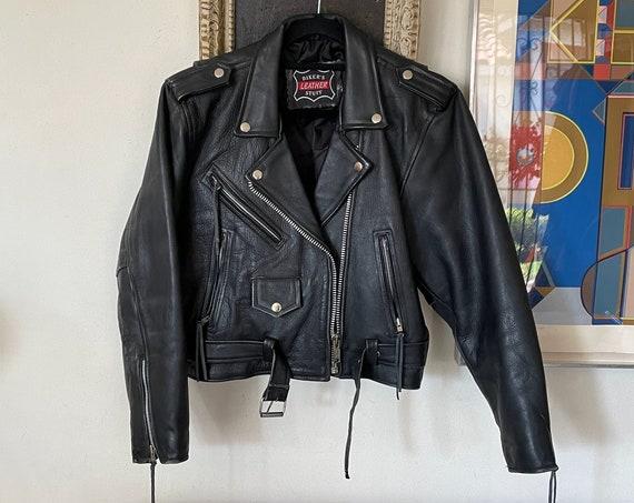 1980's 90's Cropped Oversized Black Leather Moto Motorcycle Jacket Rocker Boho Hippie Steampunk Western Biker Ladies S/M/L