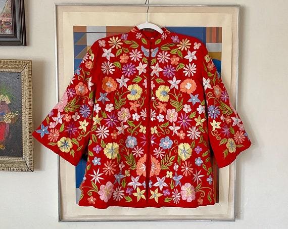 1970's 80's Red Cut Out Lace Duster Blazer Jacket Pastel Floral Philippines Eyelet Lace Barong Tagalog Boho Hippy Bohemian Hippie M/L
