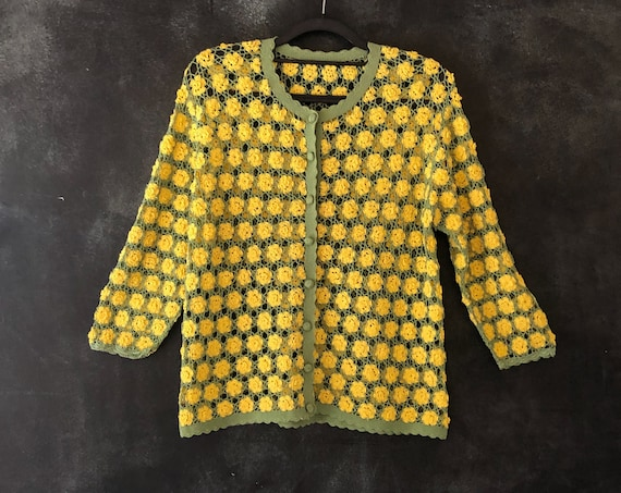 1980's Hand Crotchet Cardigan Chartreuse Lime Green and Lemmon Yellow Rayon Rosettes Sheer Wearable Art Sweater Ladies S/M/L