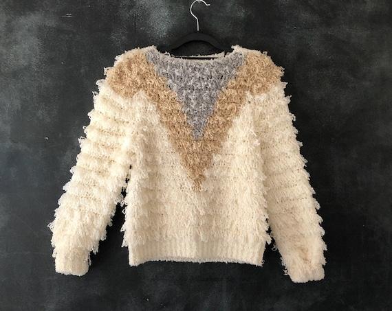 80's Cream Shag Acrylic Sweater Looped Loomed White Color Blocked Fuzzy Fiber Art Wearable Art Ladies Xs/S/M