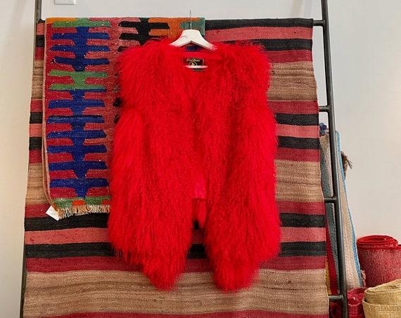 80's 90's Red Mongolian Sheep Fur Cherry Red Vest Shaggy Boho Bohemian Hippy Hippie Boho Bohemian Rocker Woodstock Winter Ladies S/M