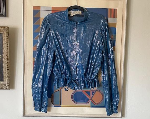 70's Adini Indian Cotton Blue Silver Lurex Striped Peplum Drawstring Button Down Blouse Puffed Sleeves Boho Bohemian Hippy Hippie M/L