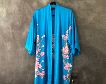Turquoise Batik Silk Cherry Blossom  Kimono Duster Robe Bohemian Hippie Japanese Robe OSFM
