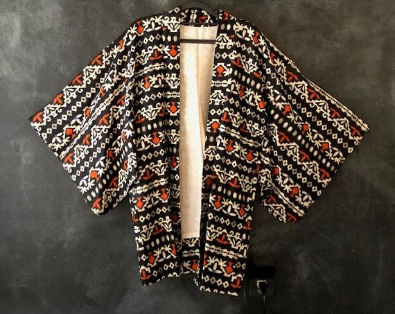 80's Silky Navy and Orange Japanese Kimono Duster Robe Loungewear Aztec Print Boho Hippy Bohemian Hippie Size S/M/L