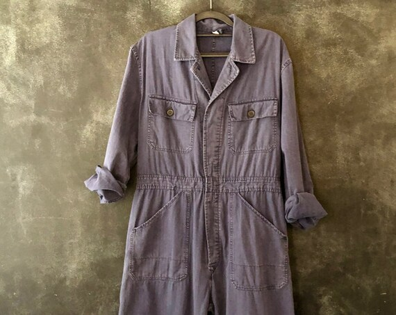 70s Indigo Cotton Coveralls Romper Onesie Boiler Suit High Waisted Onesie Cotton Blue Americana Boho Size 34-36""