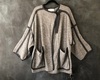 Chloe Cocoon Cardigan Mohair Cashmere Grey Belted Oversized Sweater Ladies Sz S