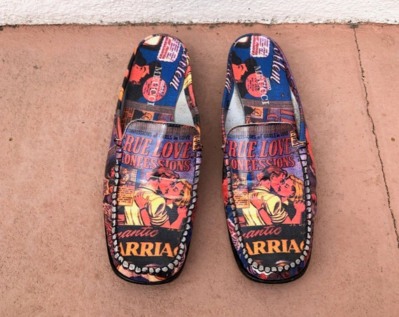 90's Italian Leather Novelty Print Comic Mules Slides Slippers Slip On's Square Toe Chunky Heel by Sesto Meucci Ladies 9-9.5