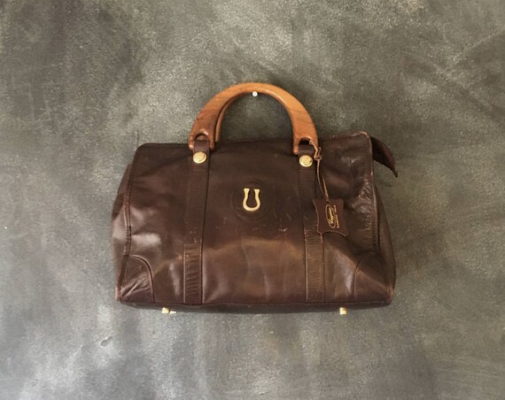 SALE 80s Brown Leather Handbag Wooden Top Handle Speedy Tote Horse Shoe Modern Bag