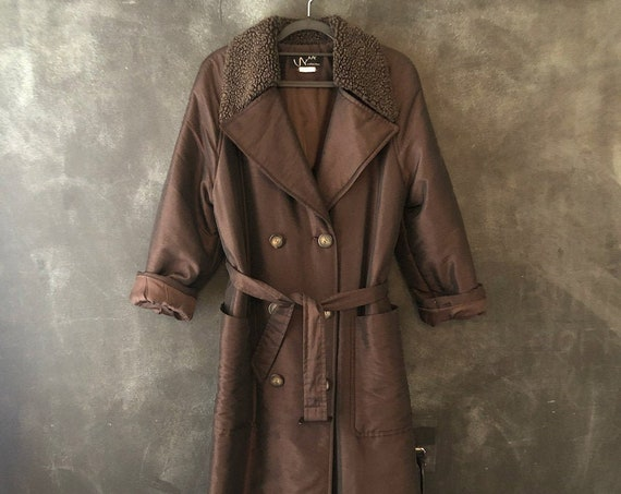 1980's 90's Modernist Taffeta Brown Trench Belted Long Coat Padded Quilted Double Breasted Minimal Minimalist All Sizes