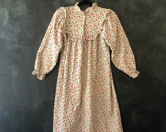 70's 80's Red Blue Floral Puffed Sleeves Ruffled Midi Dress Cottage Core Flannel Cotton Sleepwear Loungewear Boho Bohemain Hippy Hippie XS-M