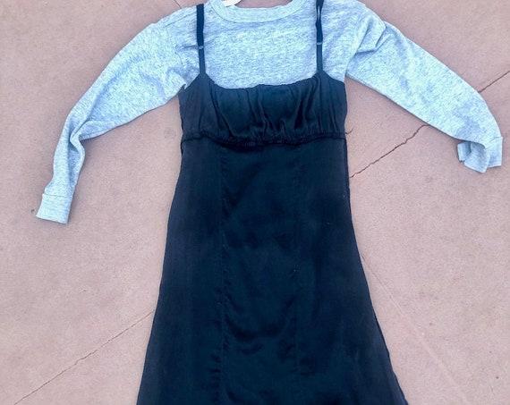 Y2k Costume National Black Silk Slip Dress Empire Waist Midi Spaghetti Strap Italian Made High Fashion Modern Minimal Size 44 S/M