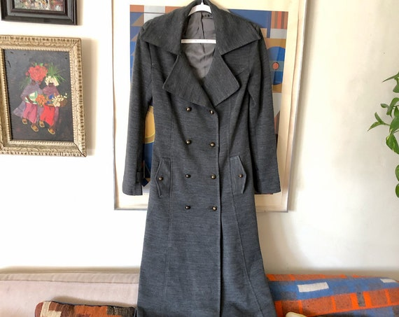 1960's 70's Heather Grey Knit Wool Long Pea Coat Double Breasted Fitted Wide Collar Winter Mod Ladies XS/S/M