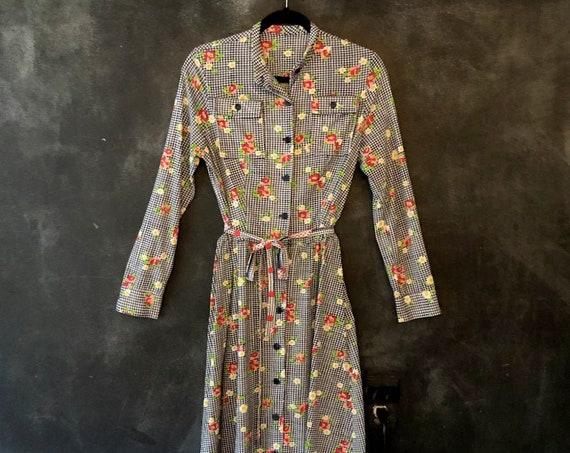 1970's Houndstooth Floral Midi Shirtdress Belted High Waisted Mini A-Line Pocket Long Sleeve Dress Boho Bohemian Woodstock Hippy XS/S/M