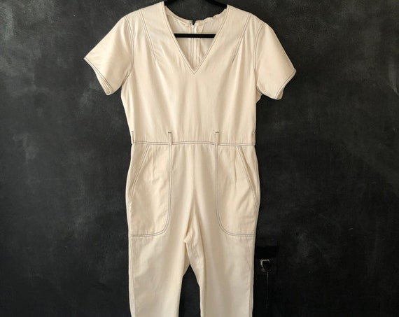 1940's 50's Inspired White and Blue Cotton Gym Playsuit Shirt Sleeve Coveralls Onesie Romper Jumpsuit Cropped Pedal Pushed Length Size 30